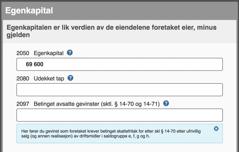 Egenkapital i næringsrapport skatt